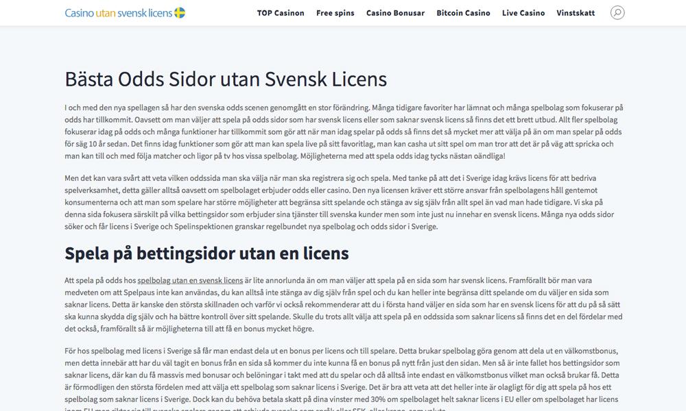 Bettingsidor utan licens i Sverige