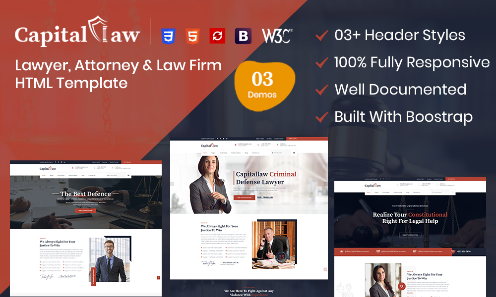 CapitalLaw – Lawyers Attorneys and Law Firm HTML Template