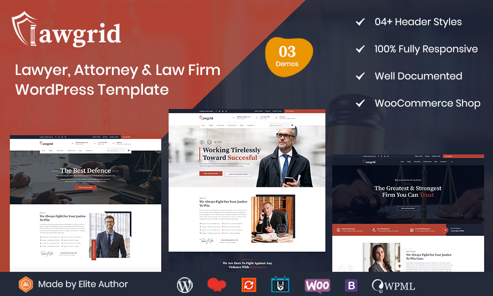 Lawgrid - Lawyer & Attorney WordPress Theme