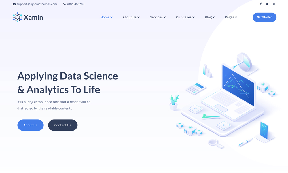 Xamin - Data Science & Analytics WordPress Theme
