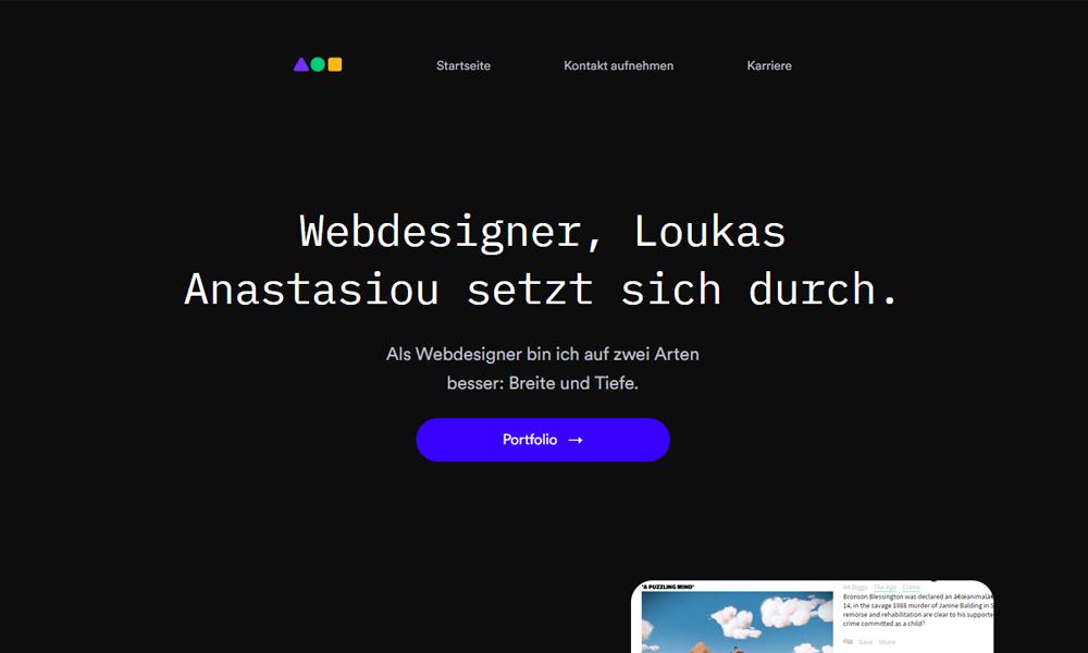 Webdesigner, Loukas Anastasiou setzt sich durch