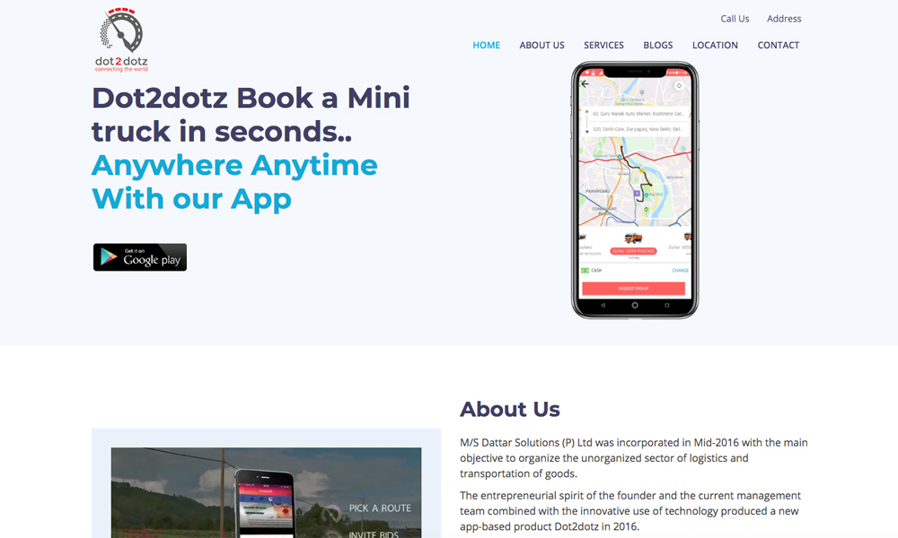 Dot2dotz- An Online Truck Booking App