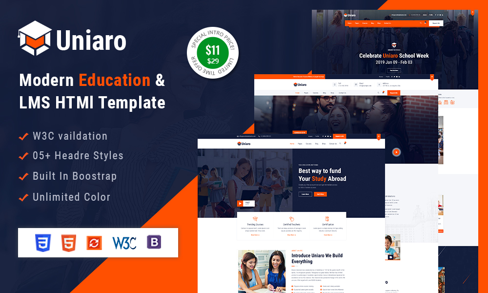 Uniaro - LMS Education HTML Template