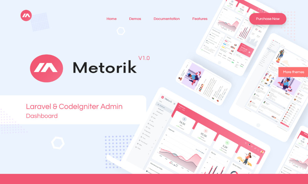 Metorik - Laravel, Codeigniter, HTML Admin Template & Seed Project