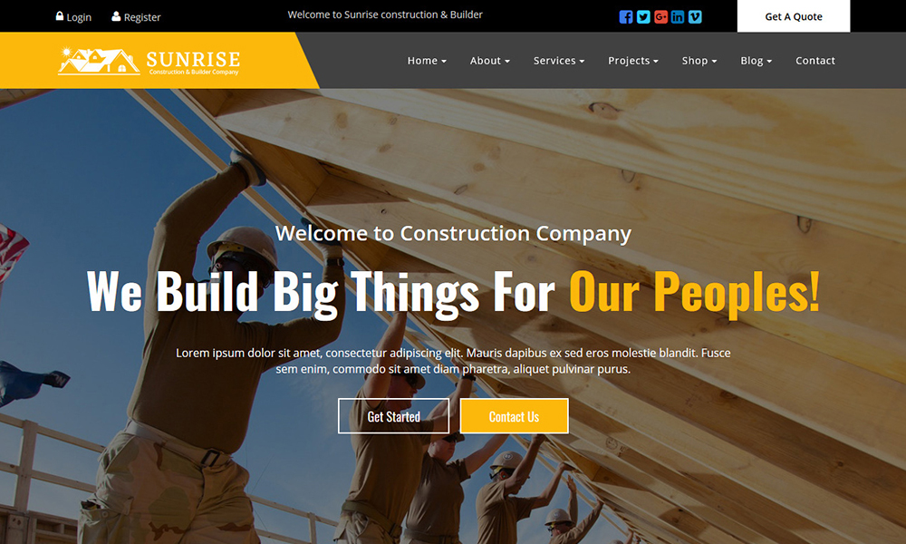 Sunrise Construction Builder Company Template