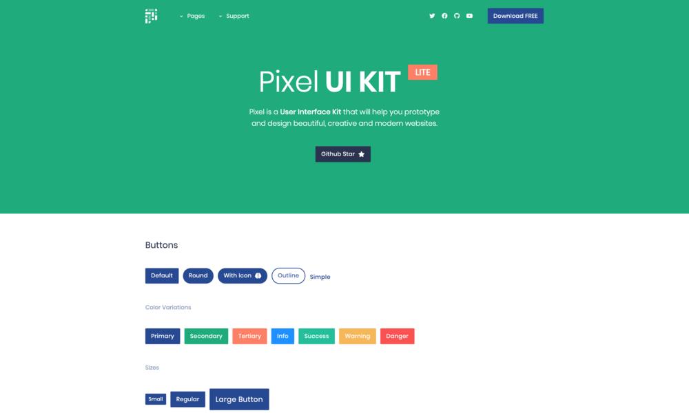 Pixel Lite - Free Bootstrap UI Kit