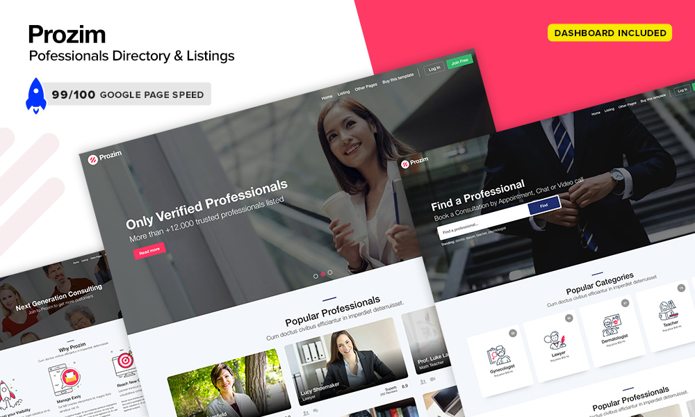 Prozim - Professionals Directory & Listings Template