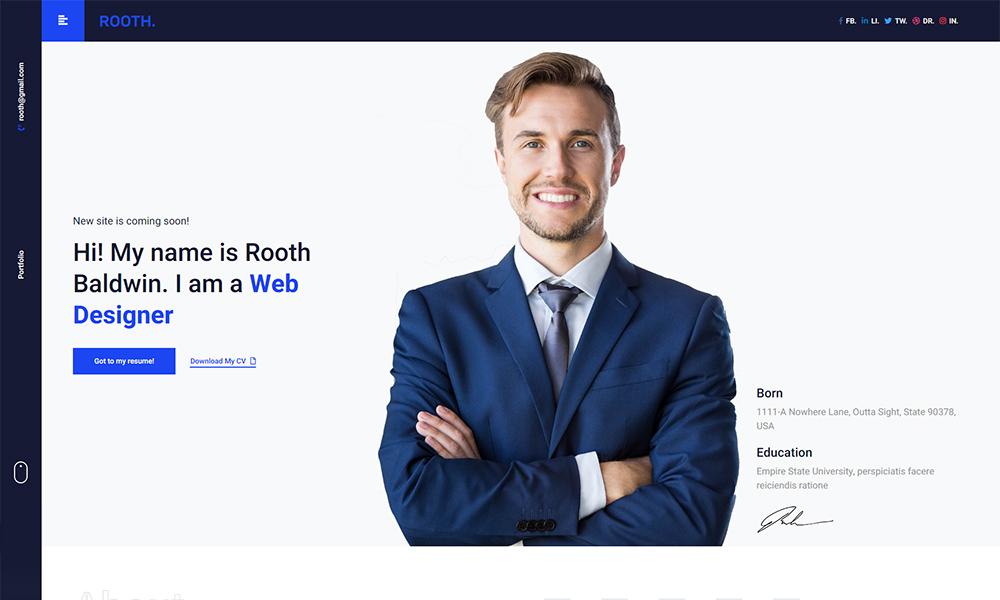 Rooth - Premium vCard / Resume / CV / Portfolio HTML Template