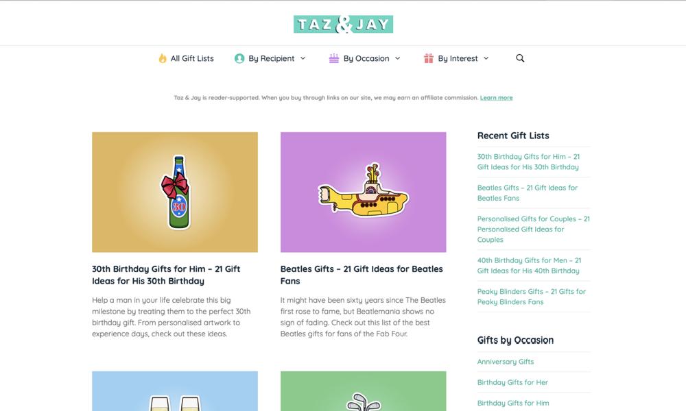 Taz & Jay - Gift Lists