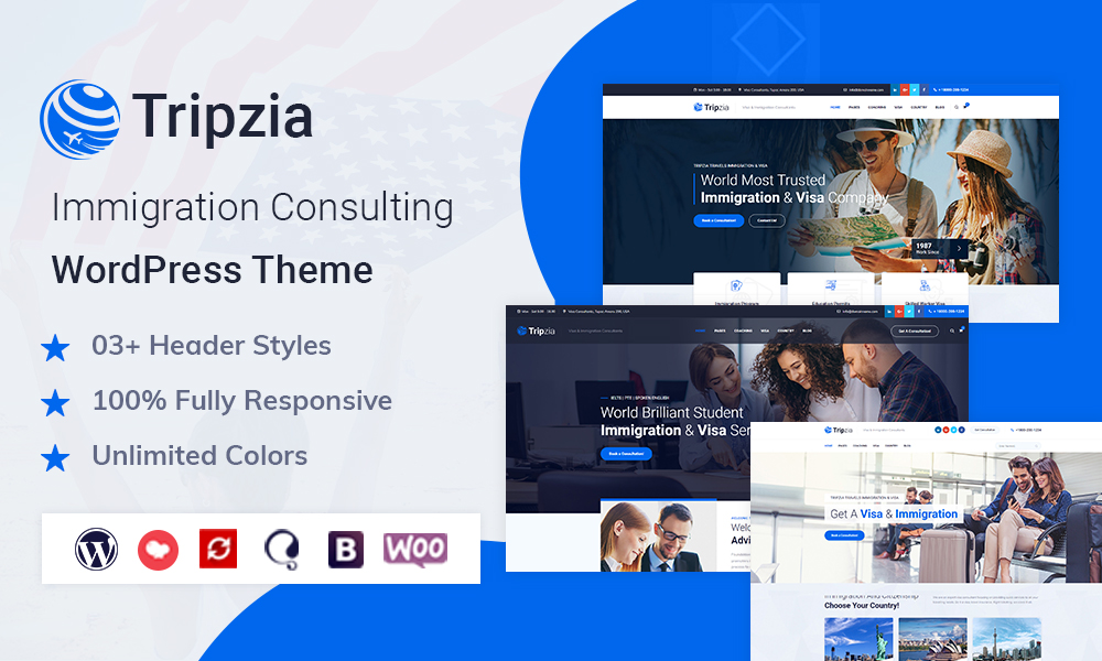Tripzia Immigration Consulting WordPress Theme