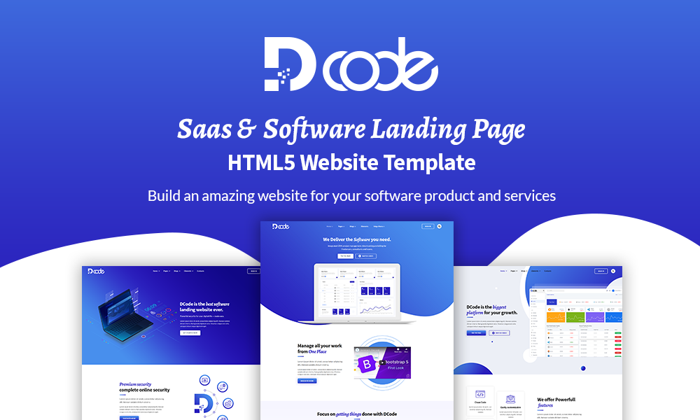 DCode - Saas & Software Responsive Landing Page Template