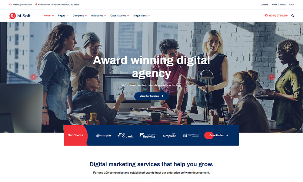 hi-Soft - IT Solutions and Services Company HTML5 Template
