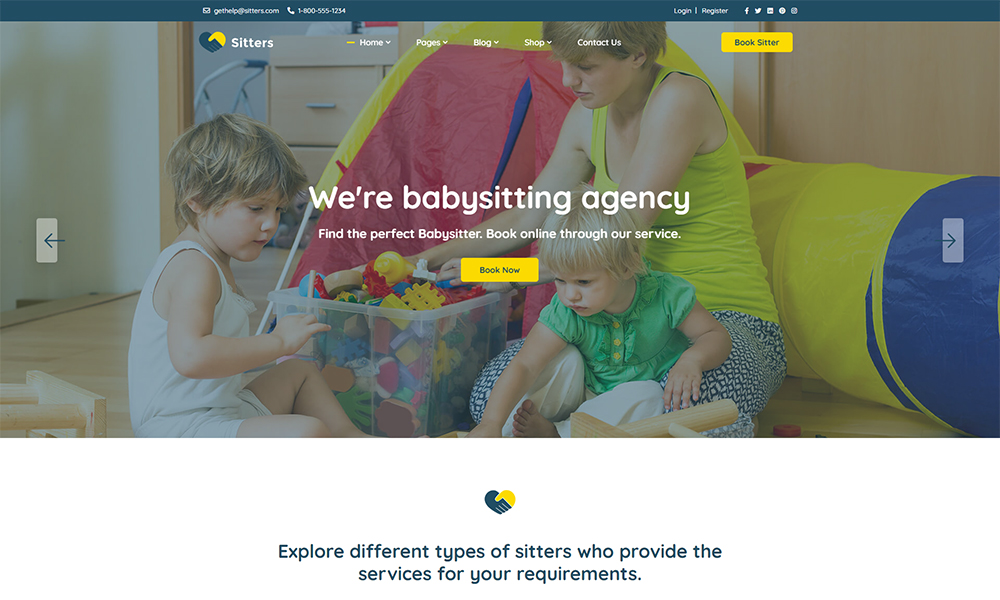 Sitters - Baby Sitter, Pet Sitter and Senior Care HTML5 Template