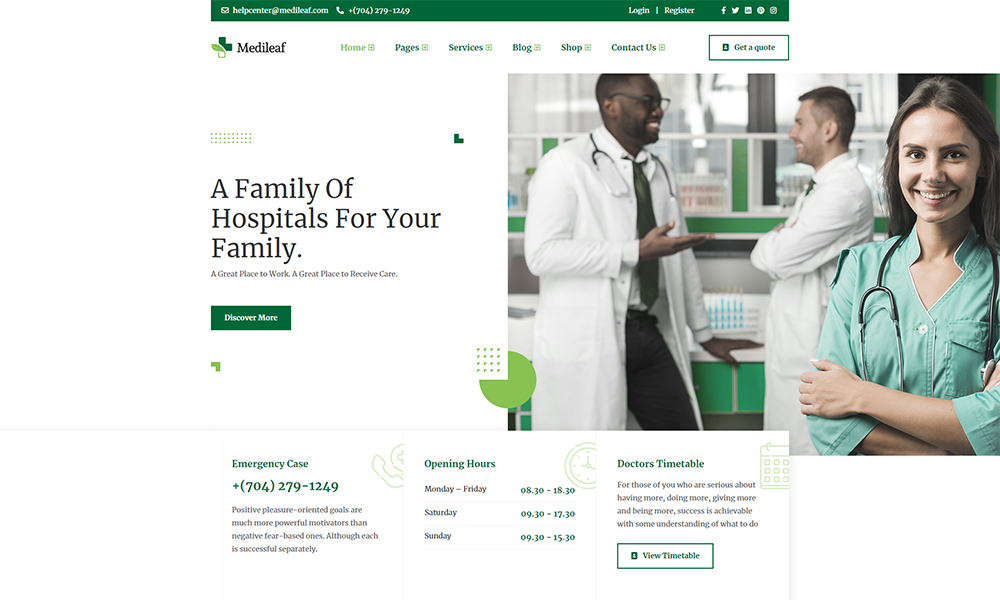 Medileaf - Health and Medical HTML Template