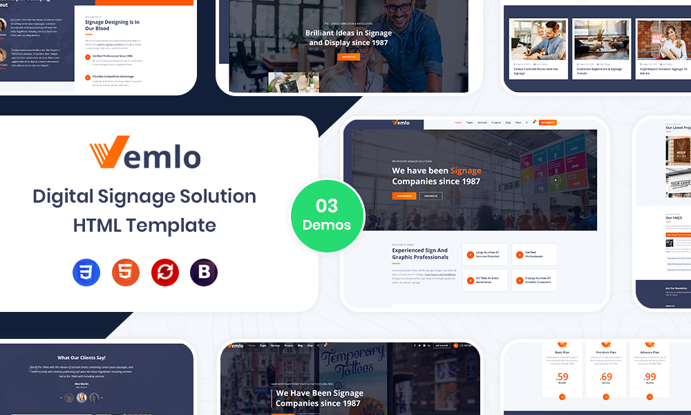 Vemlo - Digital Signage Services HTML Template
