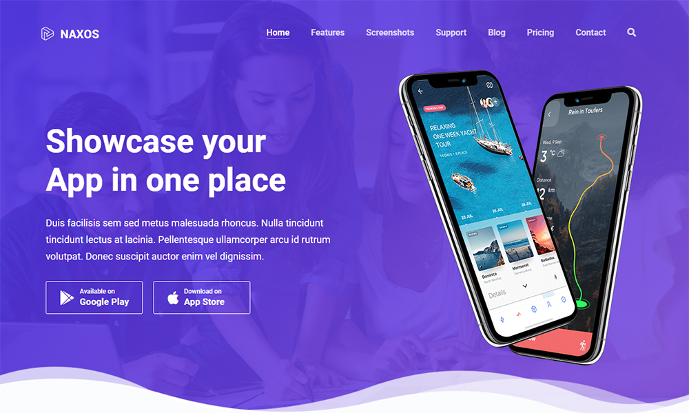 Naxos - App Landing Page Template