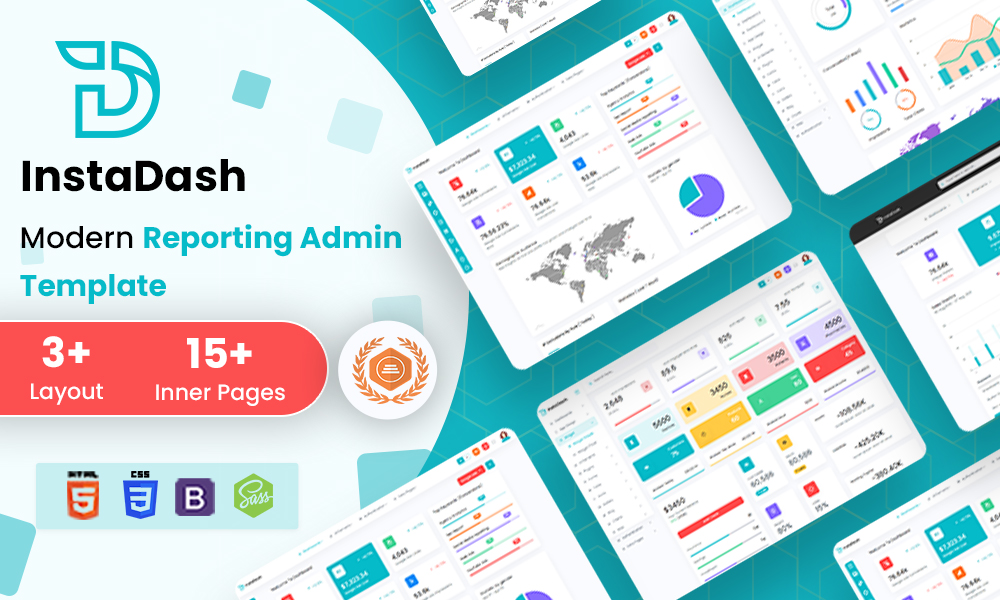 Instadash - Reporting Admin Dashboard HTML + SCSS