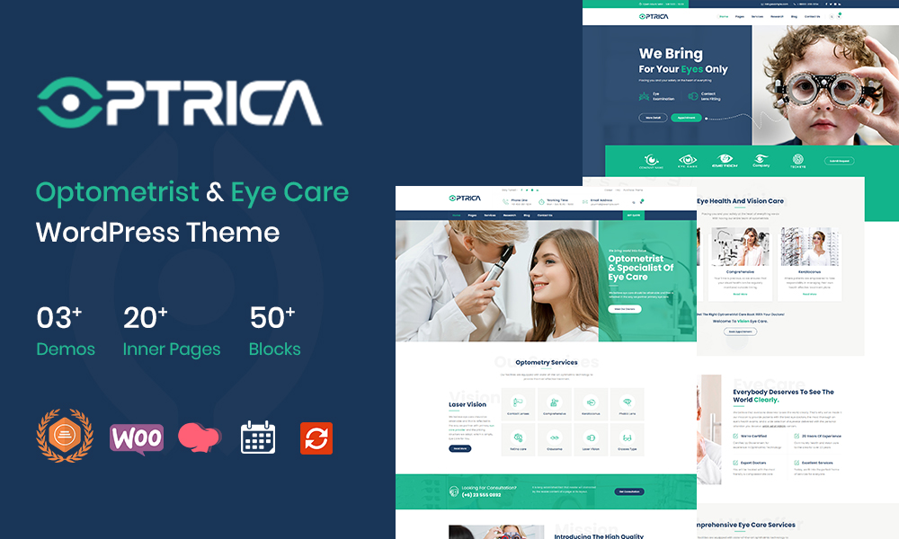 Optrica  Optometrist & Eye Care WordPress Theme