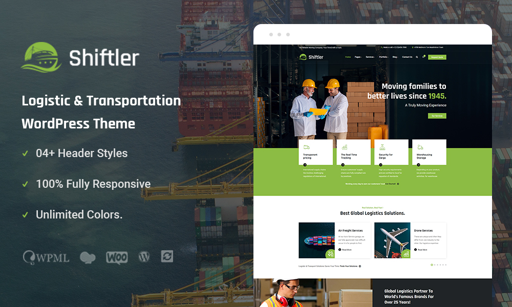 Shiftler  Transportation & Logistics WordPress Theme