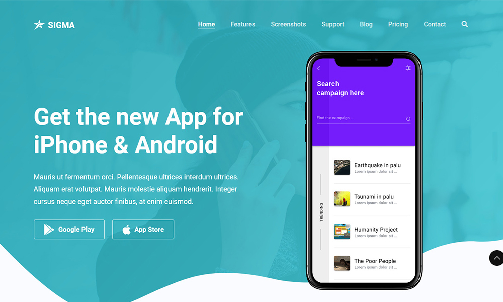 Sigma - App Landing Page Template