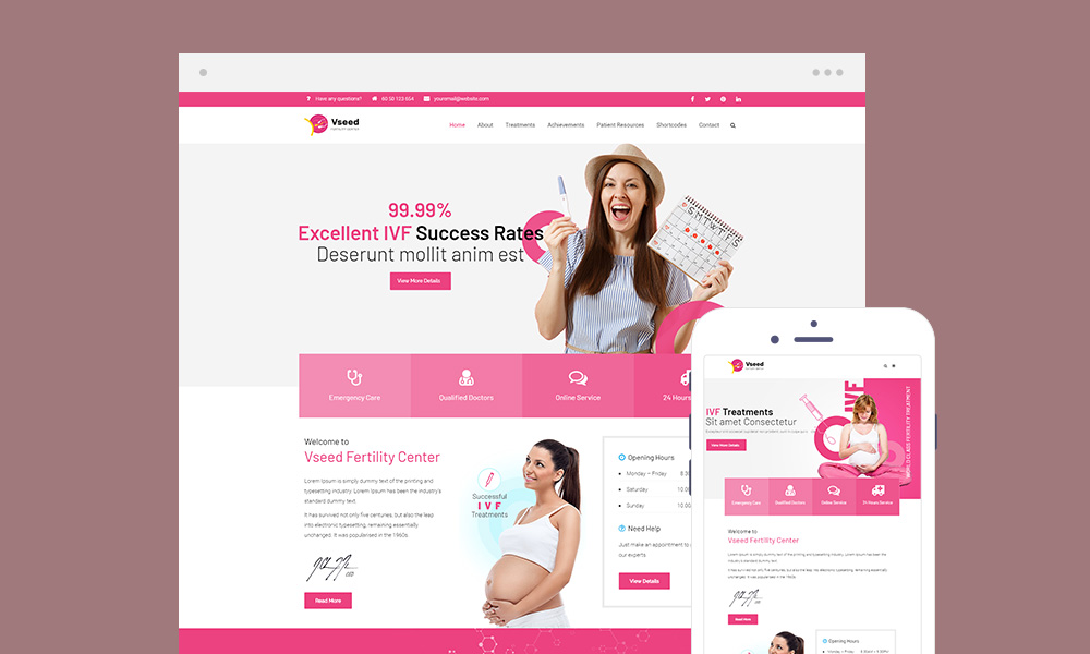 Vseed Lite - Fertility Clinic WordPress Theme Free Download