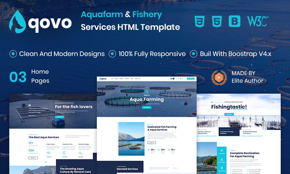Aqovo - Aqua Farm and Fishery Services HTML Template