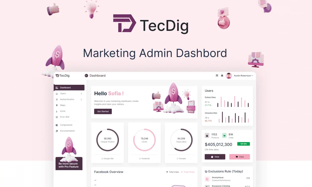TecDig Lite | Free Admin Dashboard Template for Marketing